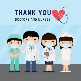 Dokter stripfiguur. bedankt artsen en verpleegsters die in het ziekenhuis werken en het coronavirus bestrijden, illustratie van de covid-19 wuhan-virusziekte.