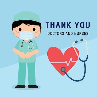 Dokter stripfiguur. bedankt dokters en verpleegsters die in het ziekenhuis werken en het coronavirus bestrijden, de covid-19 wuhan virus disease.