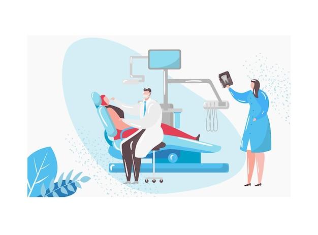 Dokter tandarts karakter tandheelkundige inspectie onderzoek tand uitvoeren