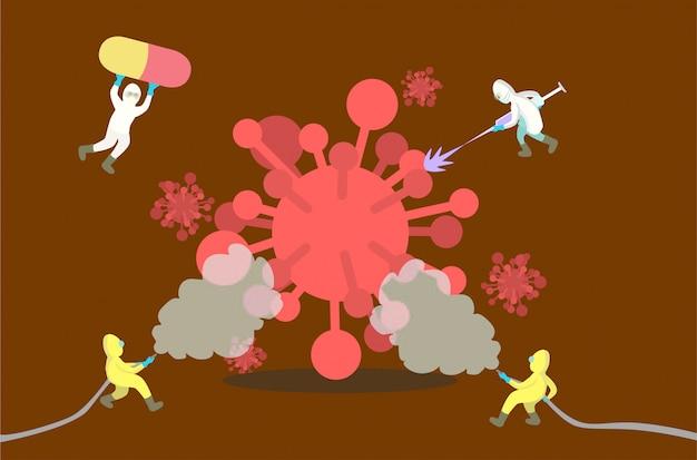 Dokter teamwerk vecht en verslaat coronavirus of covid-19 met desinfectiemiddel