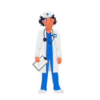 Dokter. vermoeide arts in medische toga met stoppels op gezicht.