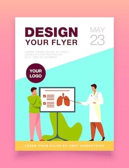 Dokter vertelt over longen aan de sjabloon van de folder van de patiënt