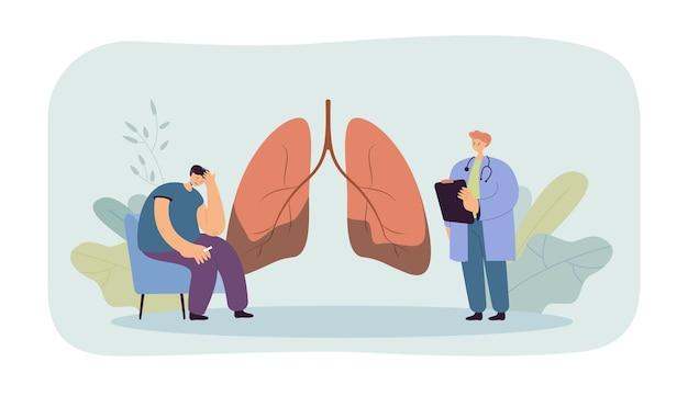 Dokter vertelt patiënt over longziekte. medisch werker die de diagnose van longkanker uitspreekt voor een bezorgde trieste man met een sigaret.
