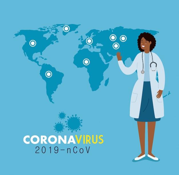 Dokter vrouw en kaartwereld met infecties 2019 ncov