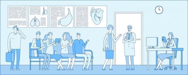 Dokter wachtkamer. dokter wachtkamer. mensen patiënten ziekenhuis wachtrij artsen kliniek interieur. medische professionals concept