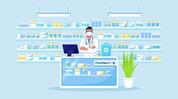Dokterapotheker staat achter de toonbank in de apotheek. drogisterij interieur. farmaceutische industrie