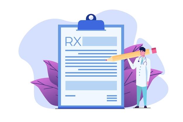 Dokterkarakter dat rx-receptformulier schrijft. online kliniek concept.