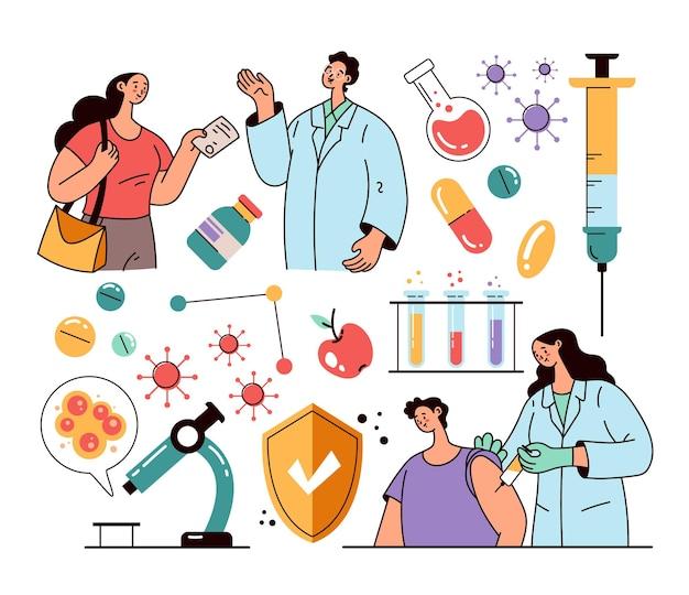 Dokterkarakter die injectie maken aan patiënt vaccinatie en laboratoriumonderzoek stoppen epidemie pandemie geïsoleerde set platte moderne stijl ontwerpillustratie