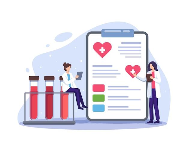 Dokterkarakters in bloeddonatielaboratorium vrouwelijke artsenkarakters in medisch uniform