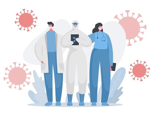 Dokters, verpleegsters in beschermd uniform die vechten tegen de covid pandemie