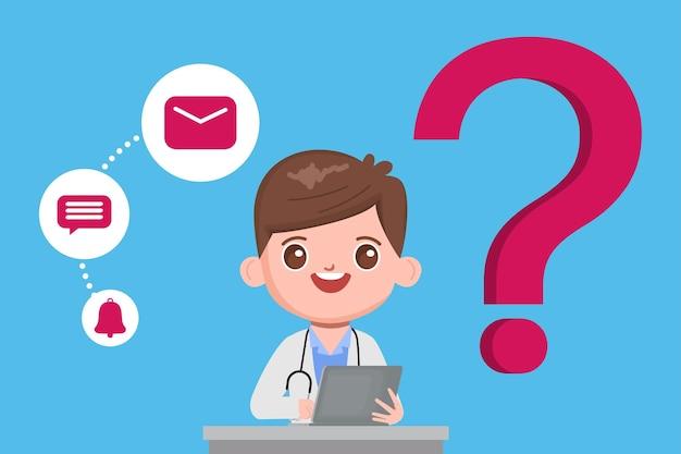 Dokterskarakter met online overleg