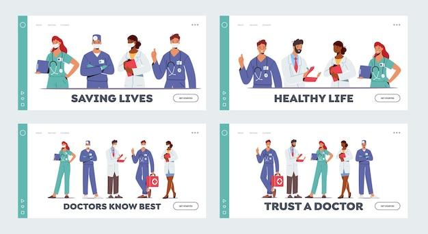 Dokterspersonages in medische mantel in rij-bestemmingspaginasjabloon