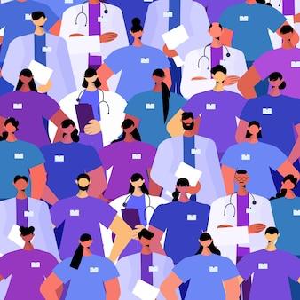Doktersteam in uniform staat samen geneeskunde gezondheidszorg tijd om concept te vaccineren