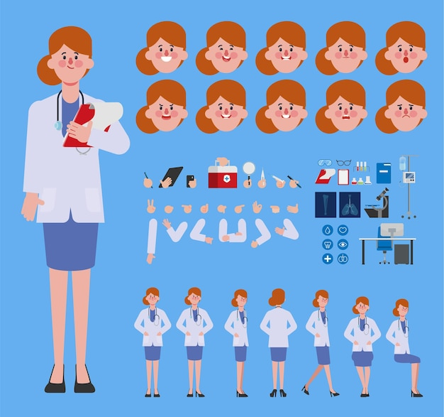 Doktervrouw karaktercreatie voor animatie klaar voor geanimeerde gezichtsemotie en mond
