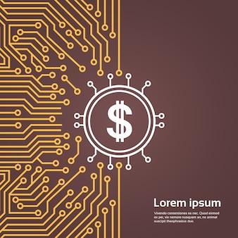 Dolar-bordje over computer chip moterboard backgroung netwerk datacenter systeemconcept banner