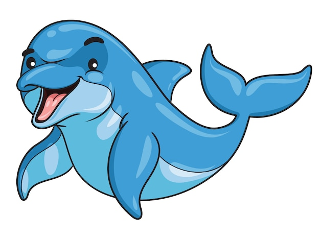 Dolfijn cartoon stijl
