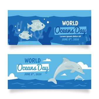 Dolfijn en vis hand getekende oceanen dag banner