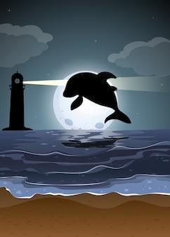 Dolfijn in het silhouet van de natuurscène