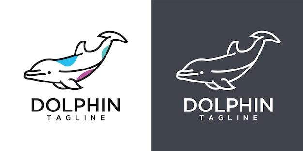 Dolfijn lijntekeningen logo ontwerp