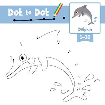 Dolfijn punt om spel en kleurboek te stippelen