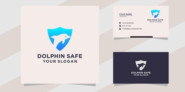 Dolfijn veilig logo sjabloon