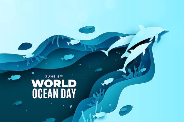 Dolfijnen in papier stijl wereld oceaan dag