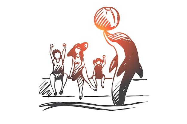 Dolfinarium, dier, aquarium, zee, prestatieconcept. hand getrokken dolfijn presteert voor kinderen in dolfinarium concept schets.