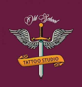 Dolk met grafische vleugels tatoeage