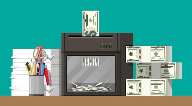 Dollar biljet in shredder machine