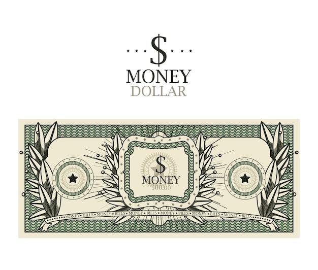 Dollar bill geïsoleerd ontwerp