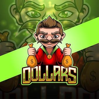 Dollar esport mascotte logo ontwerp