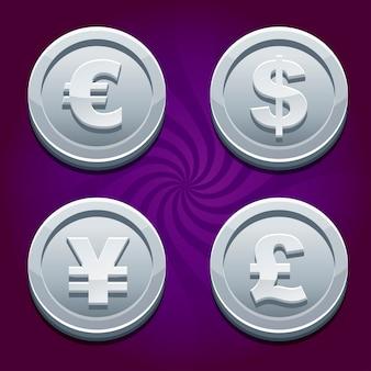 Dollar, euro, pond en yen, zilveren munten