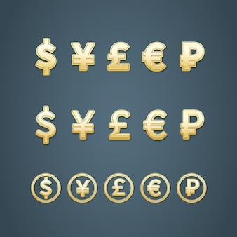Dollar euro pond yen en roebel iconen vector illustratie