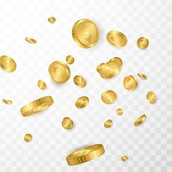 Dollar gouden munten explosie geïsoleerd op transparante achtergrond.