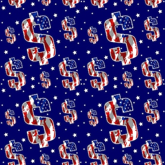 Dollar met vlag amerika naadloos patroon vector design