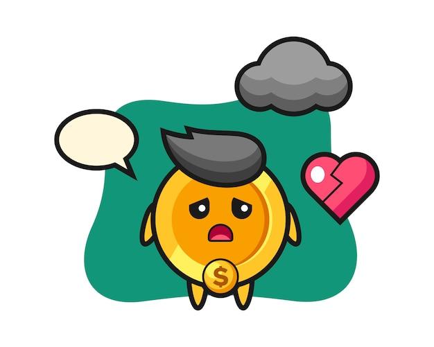 Dollar munt cartoon afbeelding is gebroken hart