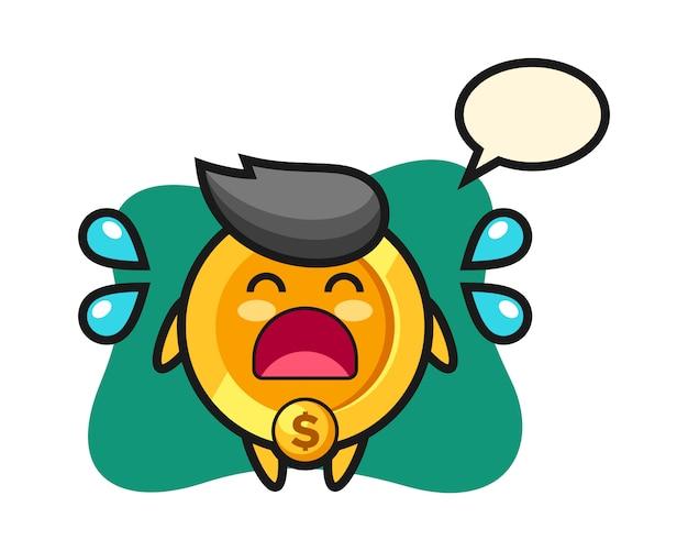 Dollar munt cartoon afbeelding met huilend gebaar