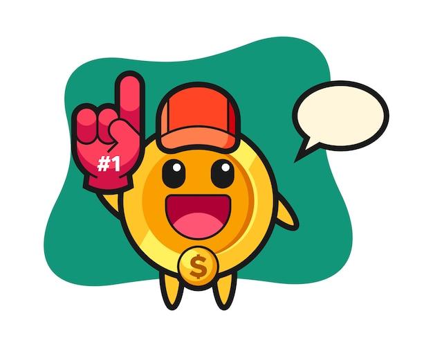 Dollar munt illustratie cartoon met nummer 1 fans handschoen