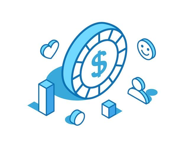 Dollar munt isometrische lijn illustratie digitaal geld d sjabloon voor spandoek