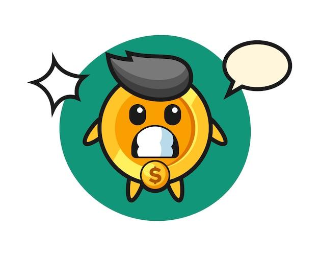 Dollar munt karakter cartoon met geschokt gebaar