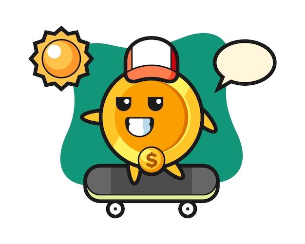 Dollar munt karakter illustratie rijden op een skateboard