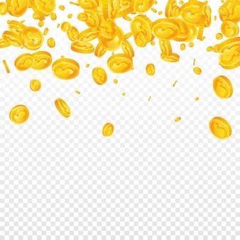 Dollar munten vallen op transparante achtergrond