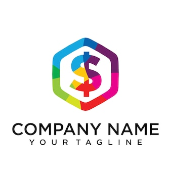 Dollar verdienen brief logo pictogram zeshoek ontwerpsjabloon element