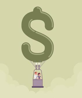 Dollar vorm hete luchtballon met mensen uit het bedrijfsleven. gelukkige zakenman, zakenvrouw geniet van een veilige, plezierige opstartvlucht, investeert in het verkennen van nieuwe markten, krijgt financieel voordeel. vector illustratie