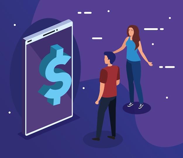 Dollarpictogram op smartphone met vrouw en manontwerp, gegevensanalyse en informatiethema