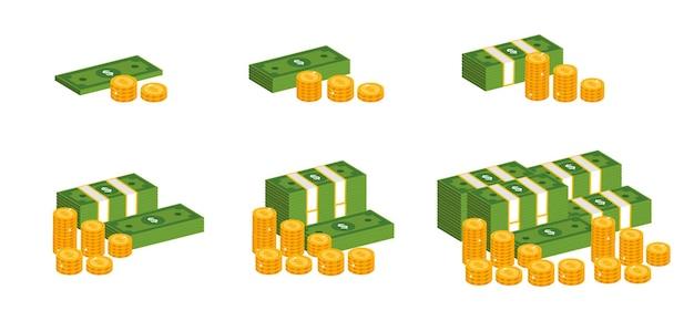 Dollars en gouden munten isometrische illustratie set