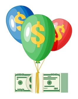 Dollarteken op ballonnen in de lucht met een bundel geld. concept van succes, carrièregroei. prestatie en doel. vectorillustratie in vlakke stijl