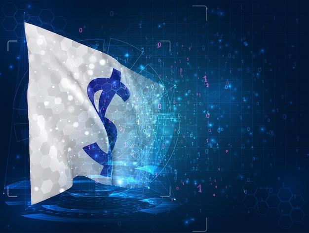 Dollarvaluta op 3d-vlag op blauwe achtergrond met hud-interfaces