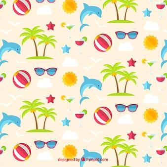 Dolphin en zomer elementen patroon