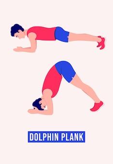 Dolphin plank-oefening mannen workout fitness aerobics en oefeningen